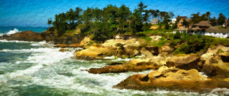 This is an image of the view from Tidal Raves Restaurant, Depoe Bay, Oregon.